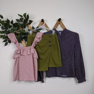 6-Piece Cottagecore Bundle - Skirt + 2 Tops